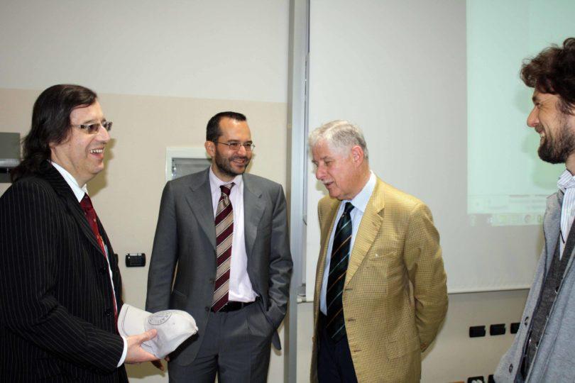 Ancora il Prof. Fabrizio Ferrari (a sinistra), con il Prof. Francesco Leali e l'Ing. Enrico Fumia (con la giacca chiara) - PHOTO COPYRIGHT: LORENZO FERRARI