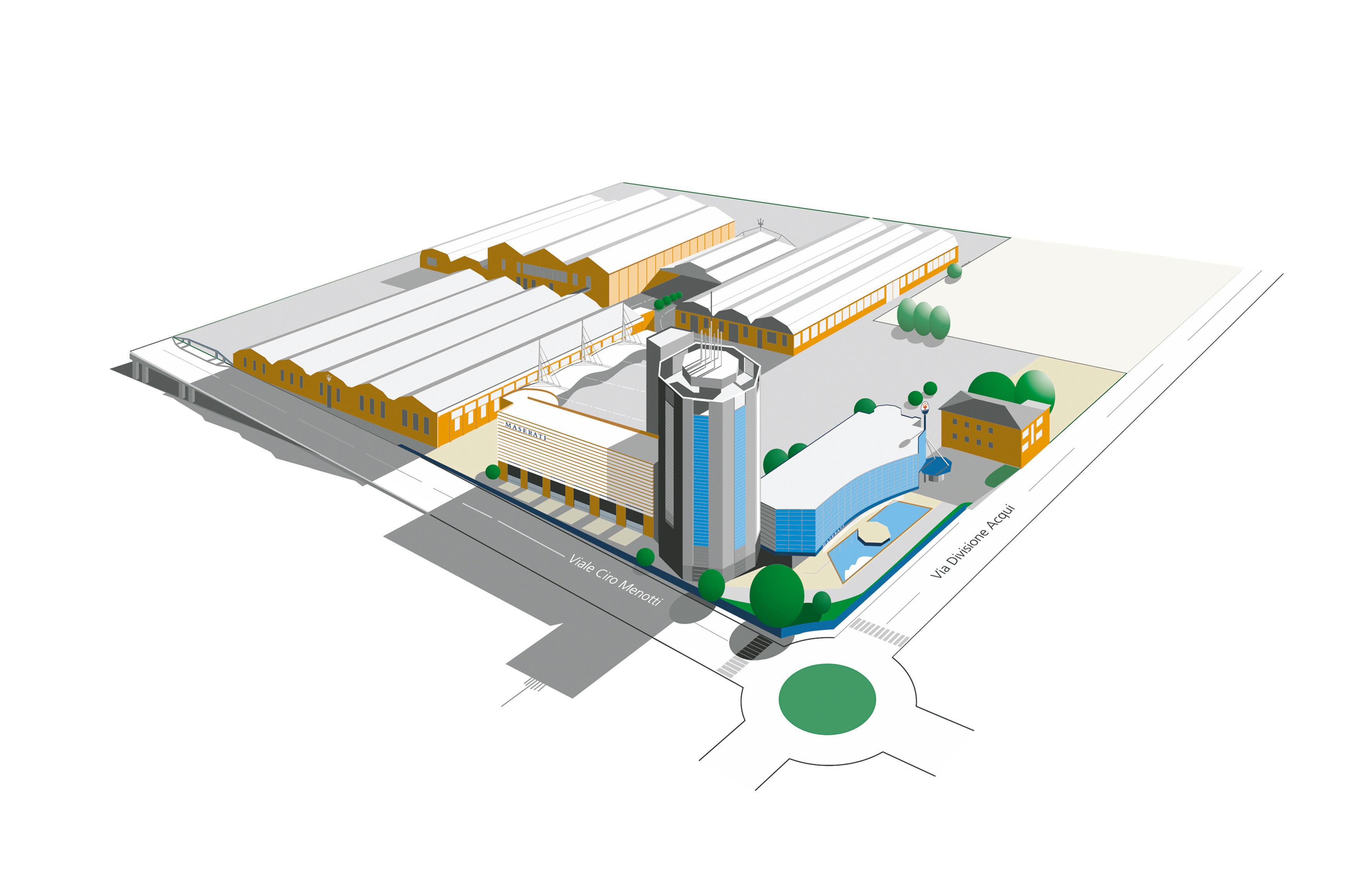3d del progetto dei nuovi stabilimenti Maserati con Torre, Showroom e parcheggio.