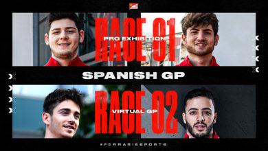 Photo of FDA Hublot Esports Team al Virtual Spanish GP con Charles Leclerc, Antonio Fuoco, David Tonizza ed Enzo Bonito
