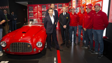 Photo of Guests of honour for ribbon-cutting of 'Ferrari at 24 Heures du Mans' exhibition at Museum of Maranello